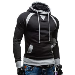 Simple Double Color Splicing Drawstring Hooded Long Sleeves Hoodie For Men