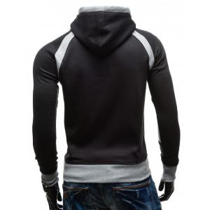 Simple Double Color Splicing Drawstring Hooded Long Sleeves Hoodie For Men - BLACK L
