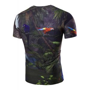 Slimming 3D Parrot Printed Round Collar Short Sleeves T-Shirt For Men - BLACK M