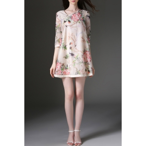 Skew Collar Birds and Floral Print Mini Dress -