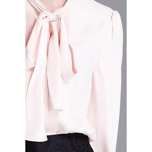 Pleated Bow Collar Blouse -