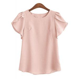 Charming Round Collar Petal Sleeve Solid Color Loose Blouse For Women