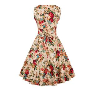 Flower Fit and Flare Dress - KHAKI 2XL
