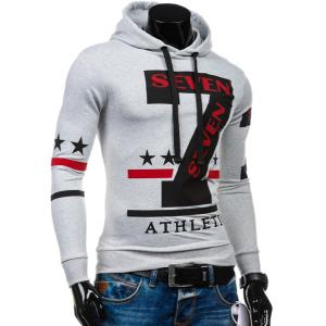 Popular Personality Hooded Star Letters Number Pattern Long Sleeves Hoodie For Men - WHITE XL