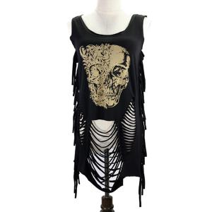 Fringed Ripped Skulls Printed Tank Top