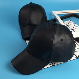 Élégant Noir PU Baseball Cap For Men -
