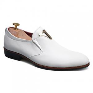 Trendy Metal and Solid Color Design Formal Shoes For Men - White - 41