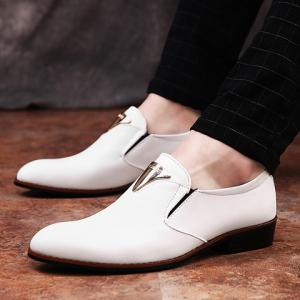 Trendy Metal and Solid Color Design Formal Shoes For Men - WHITE 41