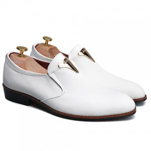 Trendy Metal and Solid Color Design Formal Shoes For Men -