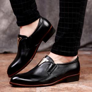 Trendy Metal and Solid Color Design Formal Shoes For Men - BLACK 38