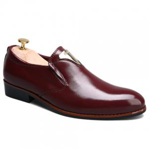 Trendy Metal and Solid Color Design Formal Shoes For Men - Wine Red - 43