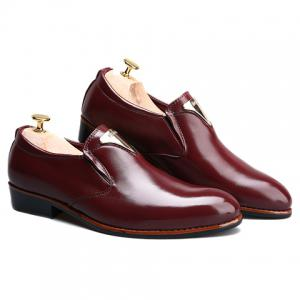 Trendy Metal and Solid Color Design Formal Shoes For Men - WINE RED 38