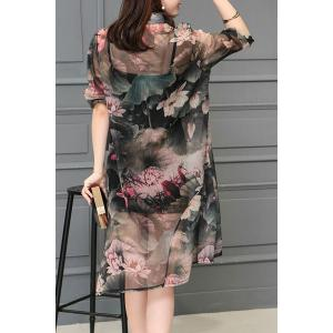 Stylish Stand Collar 1/2 Sleeve Floral Print Dress For Women -