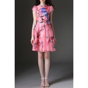 Ruffled Floral and Birds Print Belted Dress -