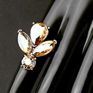 Vintage Rhinestone Water Drop Floral Ring For Women -