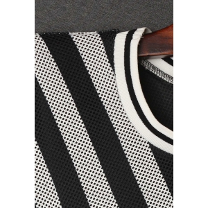 Stripe Sequined Letter Hollow Out Dress -