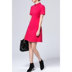 Solid Color Half Zippered Dress -