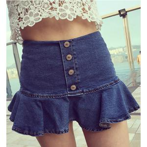 Trendy Button Design Flounce Slimming Women's Denim Culotte