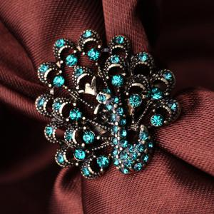 Vintage Faux Crystal Peacock Ring -