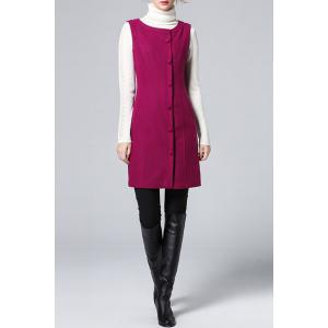 Solid Color Buttoned Waistcoat Dress -