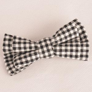 Stylish Tartan Pattern Black and White Double-Deck Bow Tie For Men - White And Black - L
