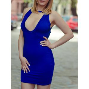 Low Cut Backless Mini Bodycon Dress - Blue - S