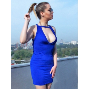 Low Cut Backless Mini Bodycon Dress - BLUE S