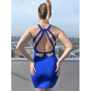Low Cut Backless Mini Bodycon Dress -