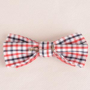 Stylish Tartan Pattern Red and White Double-Deck Bow Tie For Men -
