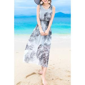 Bohemian Style Sleeveless Round Neck Chiffon Women's Dress - Black - L