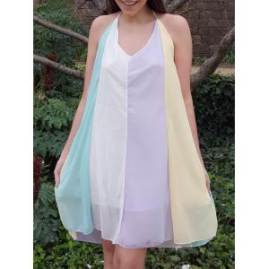 Stylish Spaghetti Strap Color Block Chiffon Women's Dress