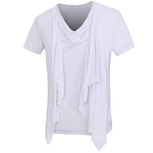 Solid Color Faux Twinset Short Sleeves T-Shirt For Men