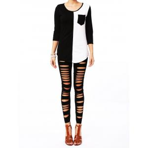 Stylish Solid Color Hollow Out High Elasticity Slimming Women's Leggings - BLACK ONE SIZE