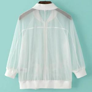 Fashionable Stand Collar 3/4 Sleeve Embroidered See-Through Jacket For Women -