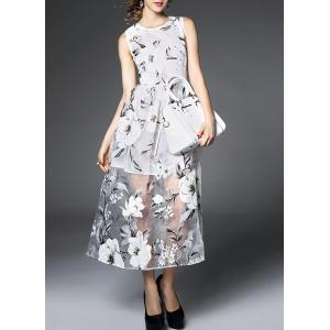 Chic Women's Voile Spliced Sleeveless Jewel Neck Flower Dress