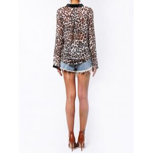 Single-Breasted Leopard Print Long Sleeve Stand-Up Collar Women's Shirt -