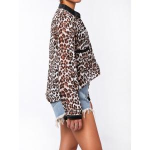 Single-Breasted Leopard Print Long Sleeve Stand-Up Collar Women's Shirt - LEOPARD L