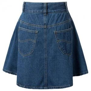 Fashionable High Waist Solid Color Zipper Fly Denim Skirt For Women -