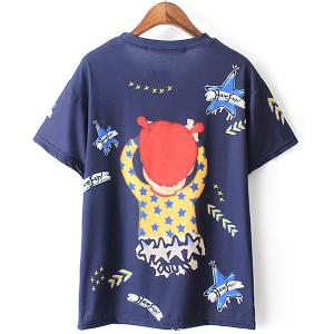 Cute Scoop Neck Short Sleeves Printed Tee For Women -