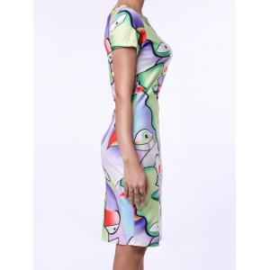 Sexy Round Collar Short Sleeve Printed Skinny Women's Dress - COLORMIX S