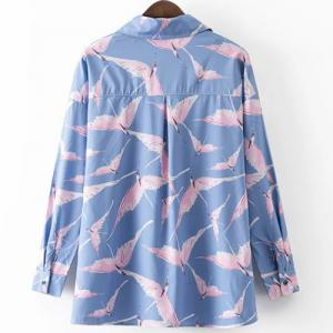 Leisure Style Shirt Collar Long Sleeve All-Over Birds Print Shirt For Women - BLUE/PINK L