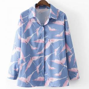 Leisure Style Shirt Collar Long Sleeve All-Over Birds Print Shirt For Women - Blue And Pink - L