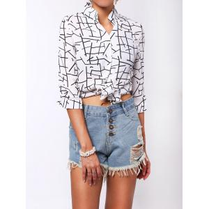 V-Neck 3/4 Sleeves Graphic Blouse