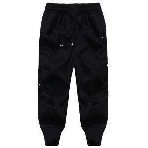 Loose Fit Lace Up Solid Color Harem Cropped Pants For Men - Black - Xl