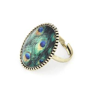 Chic Peacock Feather Pattern Retro Ring -