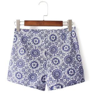 Ethnic Style High Waist Floral Print Shorts For Women -
