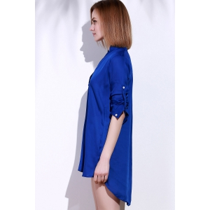 Plunging Neck Long Sleeve Solid Color Loose-Fitting Women's Blouse -