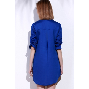 Plunging Neck Long Sleeve Solid Color Loose-Fitting Women's Blouse - SAPPHIRE BLUE L