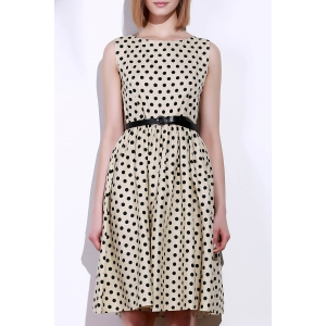 Retro Style Boat Neck Sleeveless Polka Dot Dress For Women