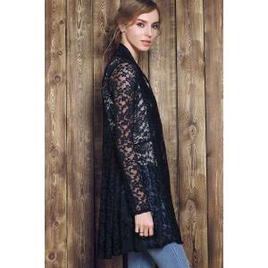 Plus Size Lace Embroidered Long Sleeve Cardigan For Women -
